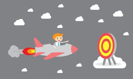 Running businessman at the finishing line. Wins Race target success. Bulb idea concept. Flat design illustration.