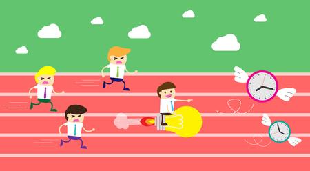 Running businessman at the finishing line. Wins Race target success. Bulb idea concept. Flat design.