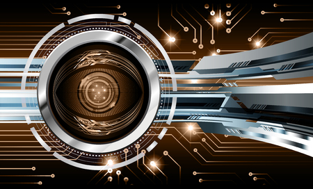 binary circuit board future technology, brown eye cyber security concept background, abstract hi speed digital internet.motion move blur. pixel vector Иллюстрация