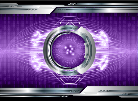 binary circuit board future technology, purple eye cyber security concept background, abstract hi speed digital internet.motion move blur. pixel vector
