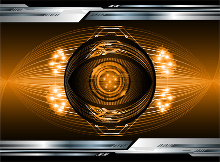 binary circuit board future technology, orange eye cyber security concept background, abstract hi speed digital internet.motion move blur. pixel vector Illustration