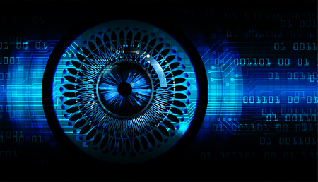 binary circuit board future technology, blue eye cyber security concept background, abstract hi speed digital internet.motion move blur. pixel vector
