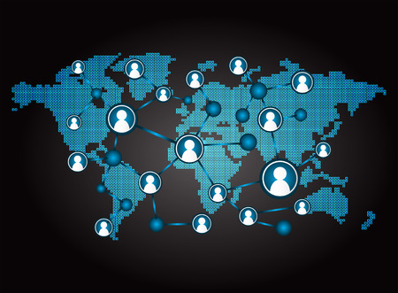 Social media network concept background. design vector illustration with world map. Global mesh communications. Earth, cyber