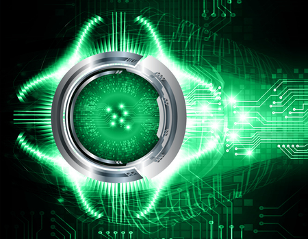 Binary circuit board future technology, green eye cyber security concept background, abstract hi speed digital internet.motion move blur. pixel vector