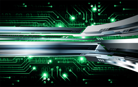 Binary circuit board future technology, green cyber security concept background. Abstract hi speed digital internet.