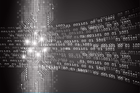 binary circuit board future technology, black cyber security concept background.