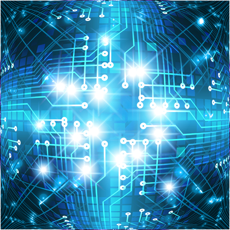 Binary circuit board future technology, blue cyber security concept background. Abstract hi speed digital internet. Иллюстрация