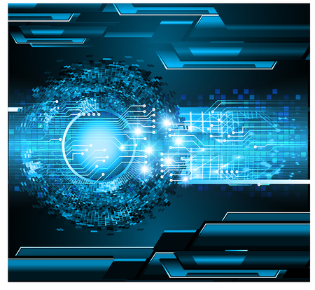 Binary circuit board future technology, blue eye cyber security concept background. Abstract hi speed digital internet. Иллюстрация