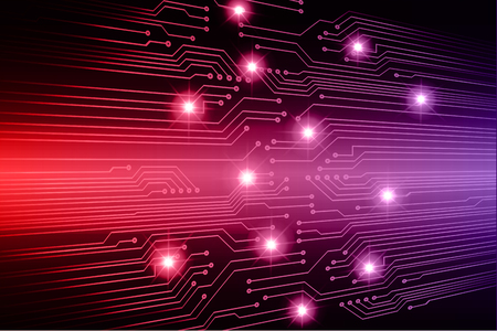 Binary circuit board future technology, red cyber security concept background. Abstract hi speed digital internet.
