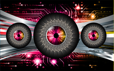 Binary circuit board future technology, pink eye cyber security concept background. abstract hi speed digital internet.