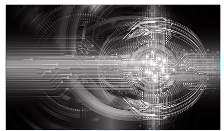 Binary circuit board future technology, black eye cyber security concept background. Abstract hi speed digital internet.