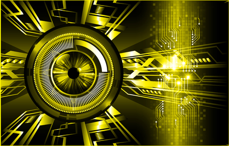 Binary circuit board future technology, yellow eye cyber security concept background. Abstract hi speed digital internet. Иллюстрация