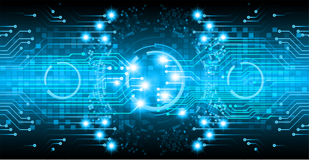 Binary circuit board future technology, blue eye cyber security concept background/ Abstract hi speed digital internet.