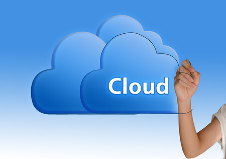 Hand drawing cloud ; Cloud computing concept  photo
