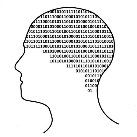 Brain with binary text