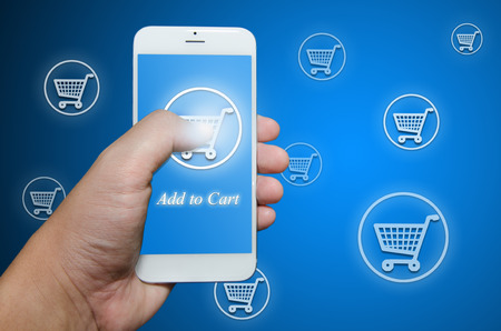 shopping order: Shopping order via smart phone application Stock Photo