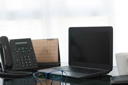 Equipment on desktop in office