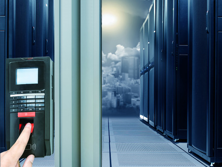 cloud industry: Finger scan security for entry server room Stock Photo