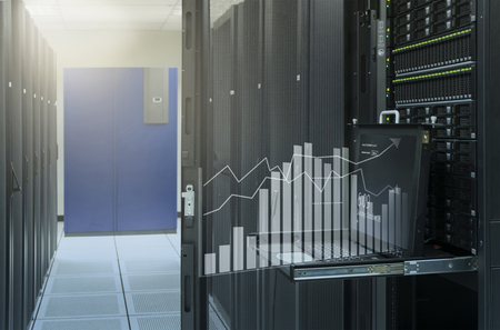 monitor console show virtual graph analysis of server in data center Stock Photo
