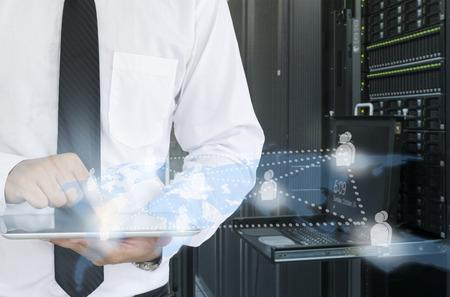 fileserver: man use tablet in data center for working