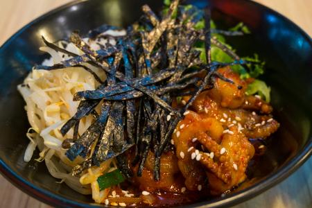 Close up Korean cuisine bibimbap in a blow