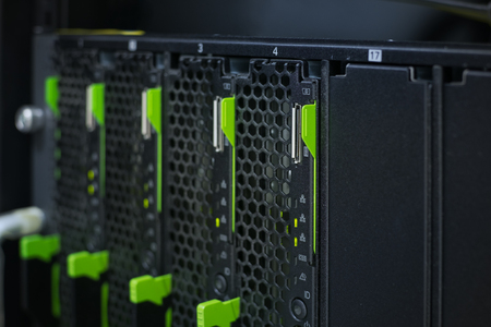 server farm: Close up blade server in  data center Stock Photo