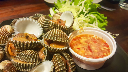 spicey: Thai style food boiled cockles with spicey sauce