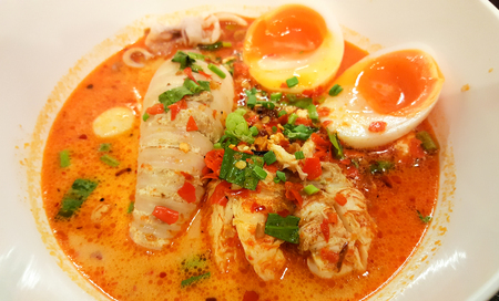 Thai style spicy noodle with seafood TOMYAM
