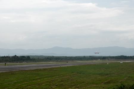 Airliner landing on runway