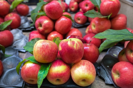 Fresh red and green apple in the fruit market. Imagens