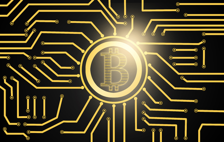 binary data over golden bitcoin currency over electric circuit