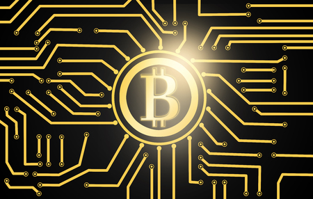 Golden bitcoin currency over electric circuit