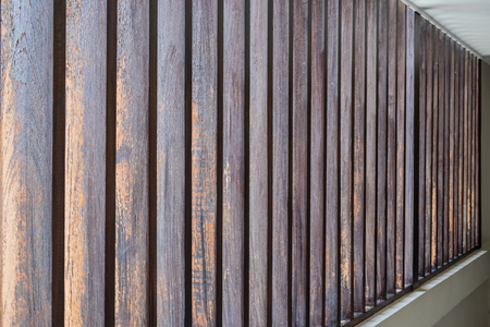 Close up vertical batten brown wood abstract texture background Imagens