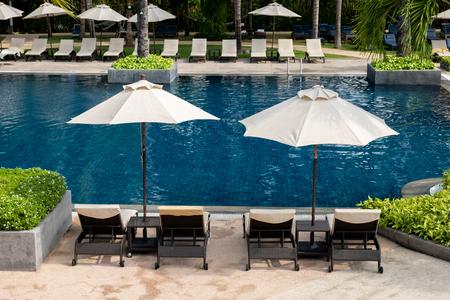 pool bed side swimming pool in resort.