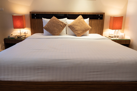 king size bed in luxury romantic room hotel