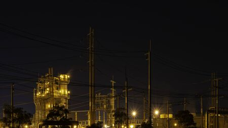 Industry electrical plant in night