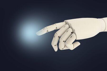 Wooden robot hand point finger on dark background