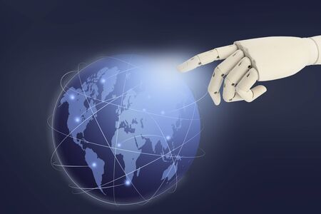 Robot hand AI pointing finger at the world