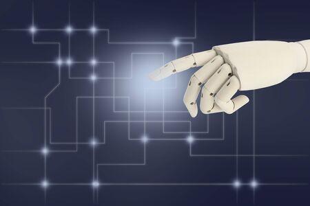 Robot hand AI pointing finger at dark background Standard-Bild