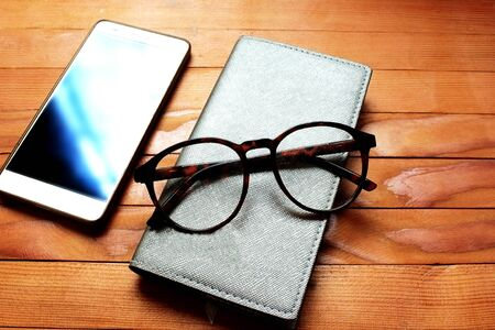Phone note  glasses mobile. Banco de Imagens