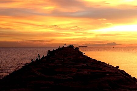 Sea path That people like to sit and relax in the evening.And colorful in sky is beautiful.