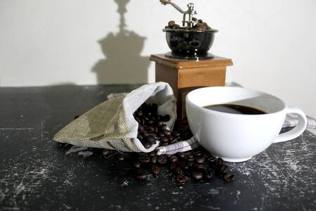 Coffee set background. Banco de Imagens