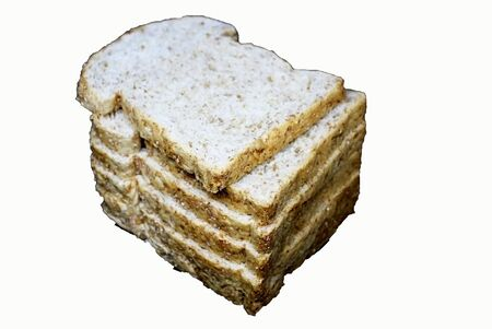Whole wheat bread on a white background.
