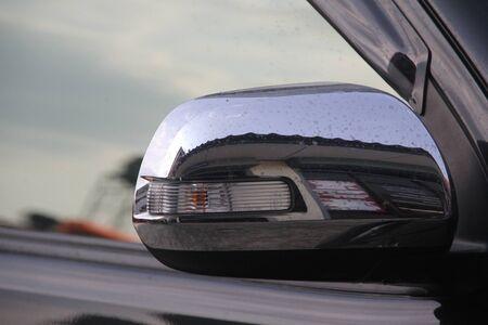 mirror image: Rear view mirror image. Stock Photo
