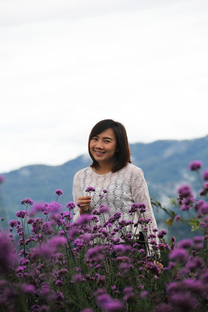 Cute girl in Verbena bonariensis flowers field on Mon Cham hill ridge - Chiangmai; Thailand