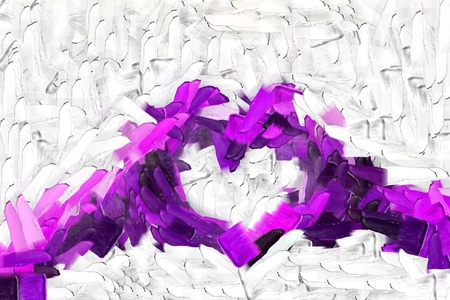 purple hand-shaped heart symbol, i love you hand sign, Abstract brushed painted background, abstract oil painted texture Stock Photo