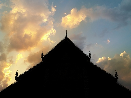 silhouette temple roof on twilight sky background