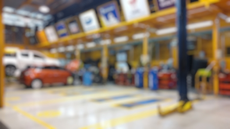 car repair shop and change tire, blurred image Stock Photo