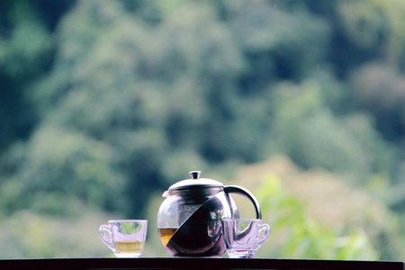 hot tea pot and two cup on table with natural green background