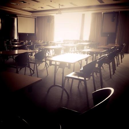 empty classroom, retro style